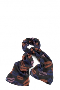 Megan Multi-coloured lip printed scarf