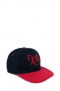 Mens Black and Red Contrast Embroidered King Snapback