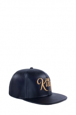 Mens Black PU Leather Embroidered King Snapback