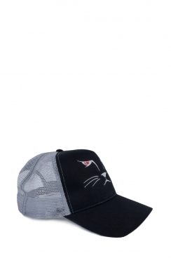 Mens Contrast Cat Embroidered Mesh Cap