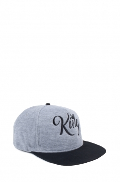 Mens Grey and Black Contrast Embroidered King Snapback