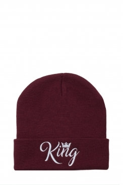 Mens King Embroidered Burgundy Beanie