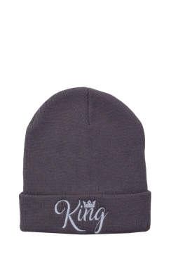 Mens King Embroidered Grey Beanie