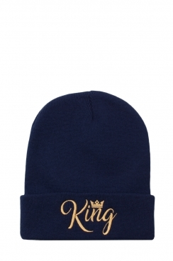Mens King Embroidered Navy Beanie
