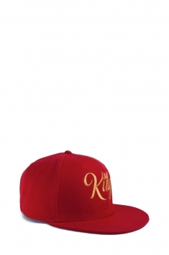 Mens Red Embroidered King Snapback