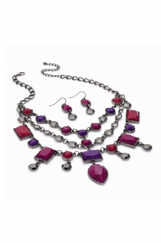 FFOMO metallic siver coloured necklace and earrings wirth purple toned mis matched shaped beads