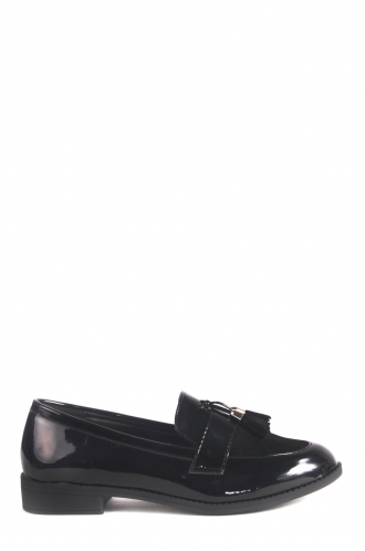 FFOMO Mila Slip on Patent Black Loafers