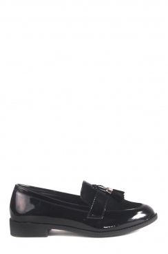 Mila Slip on Patent Black Loafers