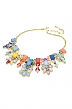 Mixed multi- coloured floral crystal and gem necklace.