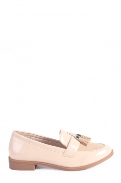 Miya Slip on Patent Beige Loafers