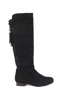 Mona black knee high fringe boots