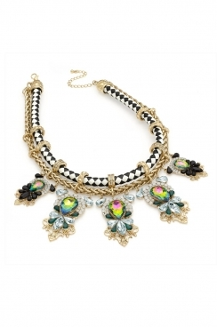 Monochrome chunky necklace with chain and  oversized crystals -multi coloured pendants