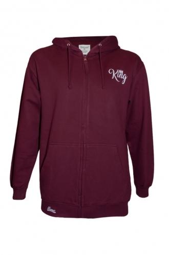 FFOMO Morgan King Burgundy Embroidery Zipped Hoodie