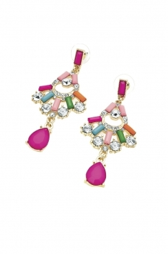 Multi- coloured funky chandler design earrings with crystals and bright bold coloured gems