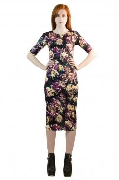 Multicoloured Maisie Floral Midi BodyCon Dress