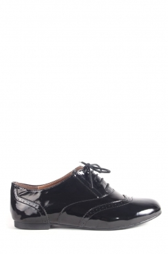 Naomi Black Patent lace up brogues
