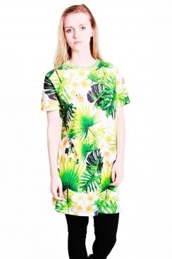 Naomi t-shirt dress with Hawaiian leaf print