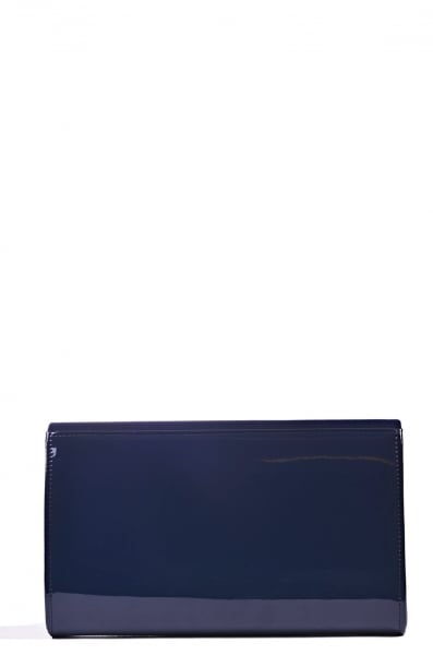 Navy suede envelope flat with gold tone framing and a press stud ...