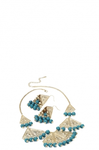 FFOMO Necklace and Earring Set, Blue Bead Charms