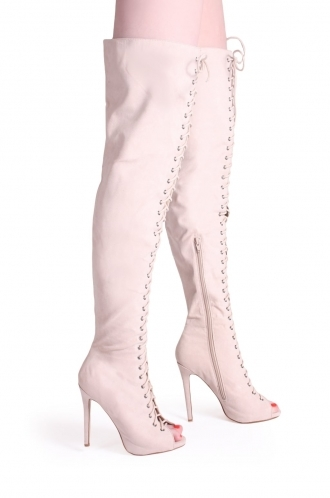 FFOMO Nora Nude Suede Over The Knee Peep Toe Boots