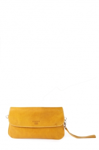 FFOMO Ocher Pochette Real Goat Leather Envelop Clutch Bag