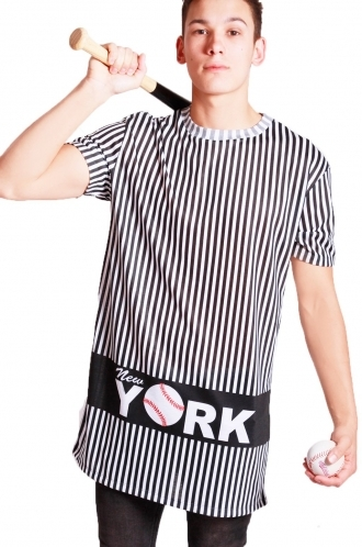 FFOMO Oliver NY Pin striped print long over sized T-shirt