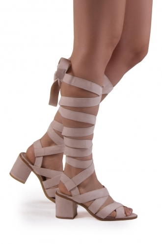FFOMO Olivia nude faux suede lace up block heeled sandal