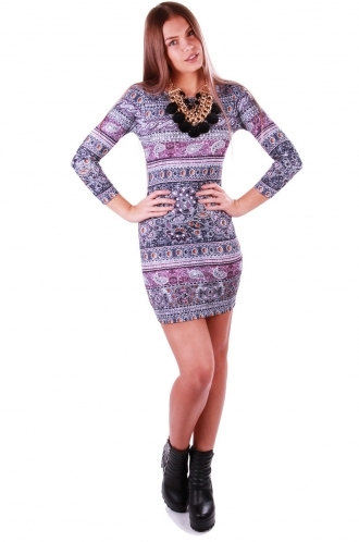 FFOMO Olivia Purple Paisley Bodycon Dress