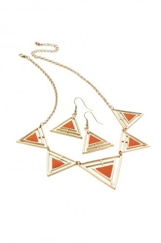 FFOMO Orange and gold triangle aztec necklace and earring set