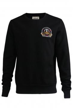 Oscar London Embroidered Patch Black Sweatshirt