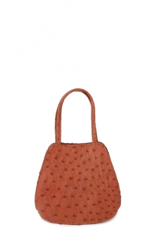 FFOMO Ostrich Brown Real Leather Small Handle Bag
