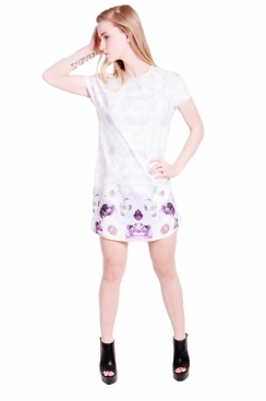 Patsy shift dress with dropped sleeves with mirrored floral print
