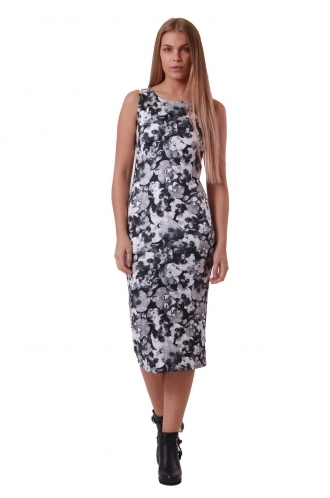 FFOMO Paula Monochrome Floral Midi BodyCon Dress