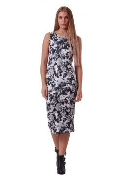 Paula Monochrome Floral Midi BodyCon Dress