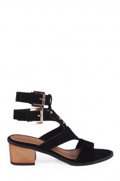 Perrie black studded heeled sandals