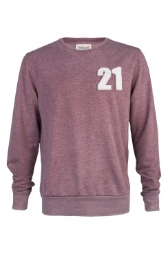 Pete 21 Applique Patch Faded Burgundy Sweatshirt