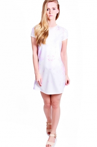 FFOMO Philippa shift dress with short sleeved and mirrored crystal print