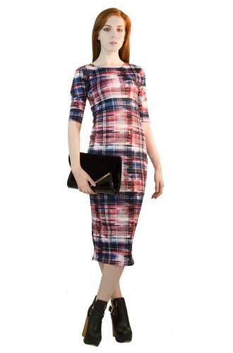 FFOMO Phoebe Red Abstract Tartan BodyCon Dress