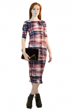 Phoebe Red Abstract Tartan BodyCon Dress