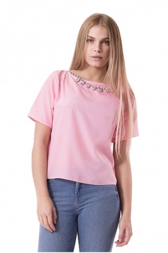 FFOMO Pink Hannah Crop Necklace Blouse