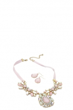 Pink Necklace and Earrings Set