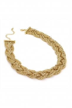Plaited twisted chunky gold statment necklace.