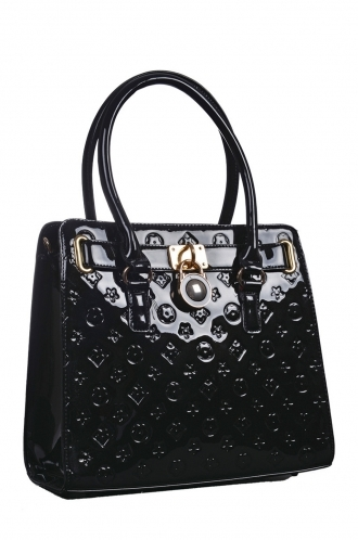 FFOMO Printed Black Patent Tote Bag