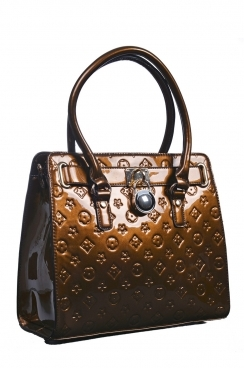 Printed Brown Patent Tote Bag