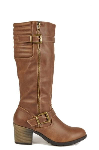 small heel knee high brown boots with buckle great for a