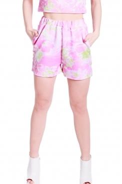 Priya floral pink printed shorts