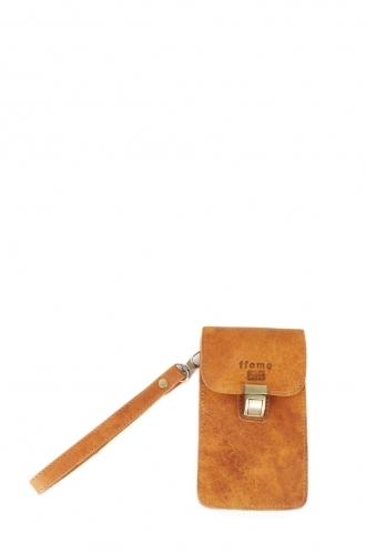 FFOMO Real Dusty Tan Camel Leather Handmade Mobile Phone/ Device Case