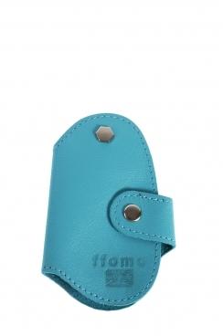 Real Goat Sky Blue Leather Handmade Key Holder