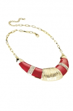 Red and gold with crystal gem detailing half moon bib necklace.