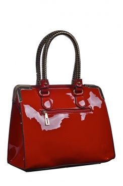 Red Patent Tote Bag With Plated Handles